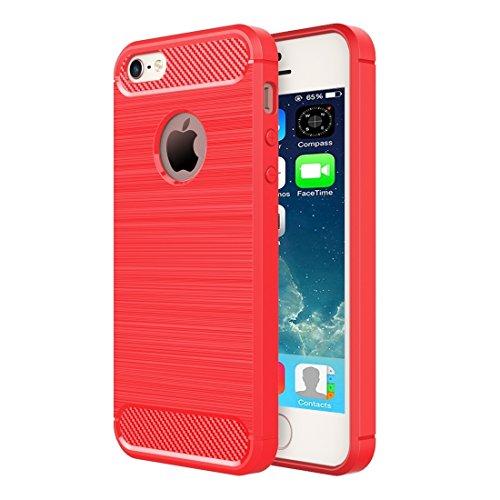 iPhone Case Cover Pour iPhone SE & 5 & 5 Fibre de texture brossée TPU Rugged Armor Case de protection ( Color : Red ) Red
