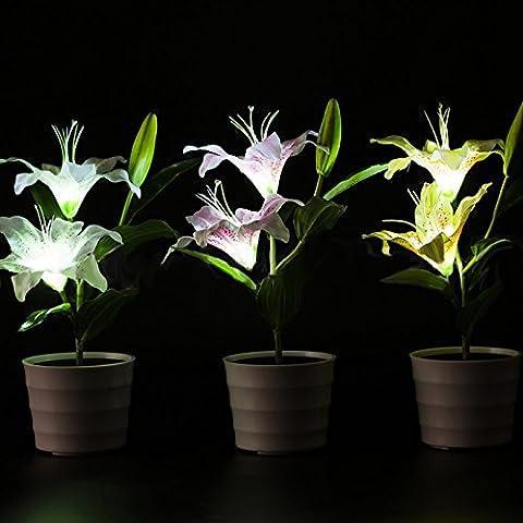 Lanlan Wasserdicht Pink Lily Blume LED Lampe Deko-Topf Pflanze Lampe Solar Power Garten Licht