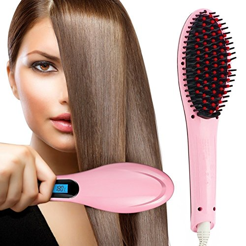 Kitchen Point Women's Electric Comb Brush Nano Simply 2 in 1 Ceramic Hair Straightener Brush Straightening with LCD Screen, Temperature Control Display (hair straightener for women) (Pink)