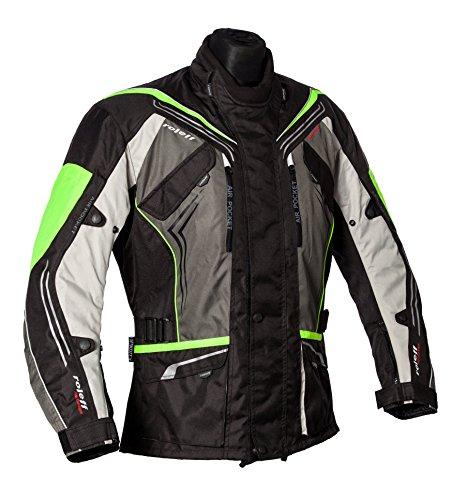 Preisvergleich Produktbild Roleff Schwarz-graue Motorradjacke mit neon-gelben Elementen, Protektoren, Belüftungssystem, Klimamembrane und herausnehmbarem Thermofutter