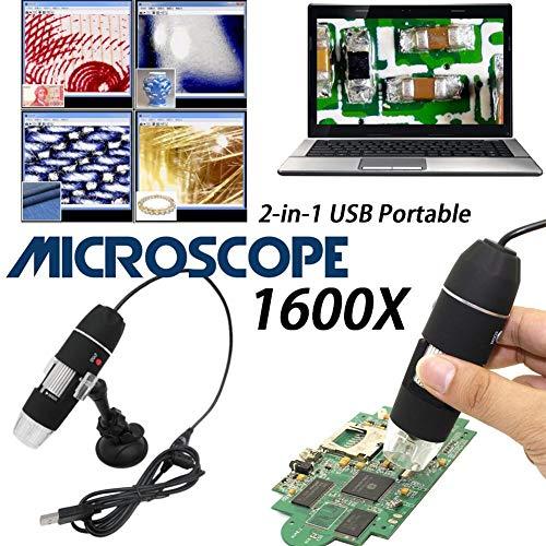 Comaie Digitales elektronisches Mikroskop 1600x Vergrößerung Endoskop LED Mini USB HD Handheld Zoom Kamera 2 MP Licht Lupe Industrie Medizinisch nach Leichtem Licht Laborforschungskomponenten Jewe