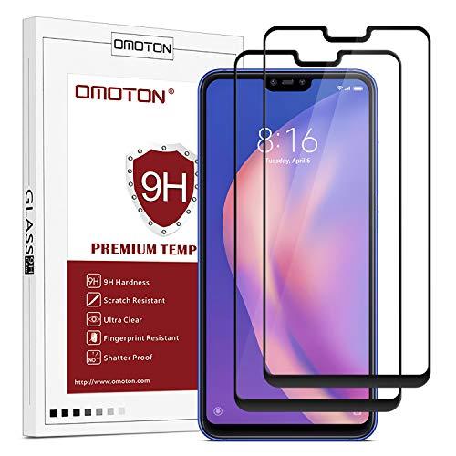 OMOTON Protector Pantalla Xiaomi Mi 8 Lite Protector de Pantalla Mi 8 Lite Cristal Templado Xiaomi Mi 8 Lite, Cobertura Completa, Anti- despegamiento, Anti-Burbujas, con Bordes Negros [2 Piezas]