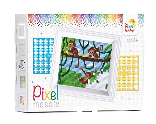 Pracht Creatives Hobby P31255 - Pixel Mosaik Geschenkverpackung, Affe, Pixelbild mit Rahmen zum Gestalten für Kinder, Jungen und Mädchen, als kleines Geschenk, Mitgebsel, für den Kindergeburtstag