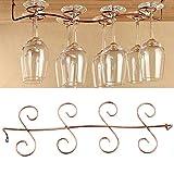 Ottone rack, 8bicchieri da vino in vetro vetro gancio, porta bicchiere, porta calici da sotto armadietto porta gancio mensola da cucina display