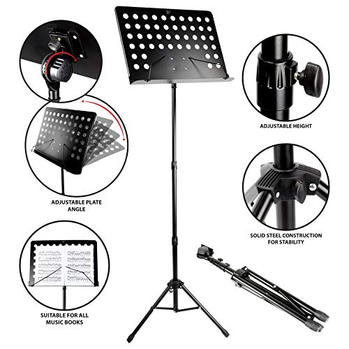 RockJam G905 Height And Angle Adjustable Orchestral Conductor Sheet Stand (Matte Black)