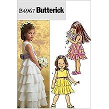 Butterick 4967 CDD - Patrones de costura para confeccionar vestido de niña (3 modelos diferentes