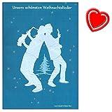 Unsere schönsten Weihnachtslieder - Notenbuch mit Liedertexten für Gitarre oder Klavier und bis zu 4 Stimmen (in C) oder Saxophone (Eb oder Bb) - mit bunter herzförmiger Notenklammer