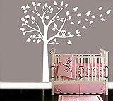 Zwei süße, eulen große weiße baum wandsticker baby kindergarten schlafzimmerwand art decor eule und vögel Wandtattoos (Pink)