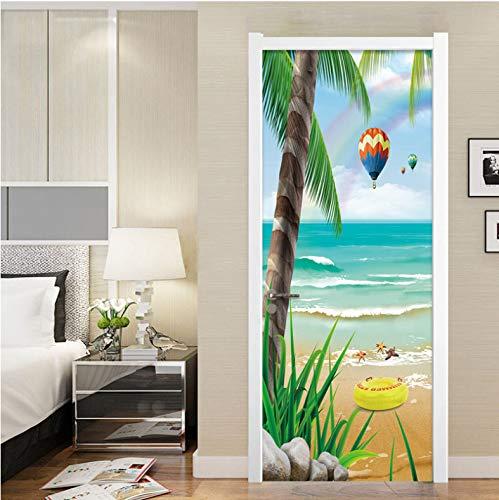 JHSM Türtapete Selbstklebend 3D Gasse Durchgang Straße Romantisch Tapete Tapete Palm Beach-Heißluft-Ballon-Natur-Landschaftsfoto-Wand95*215Cm