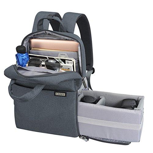 CADeN Kameratasche Fotorucksack für Frauen Männer Wasserdichter diebstahlgeschützter Fotografie & Casual Travel Kamera Bag case objektiv Taschen für DSLR Canon Nikon Sony (M,grau)