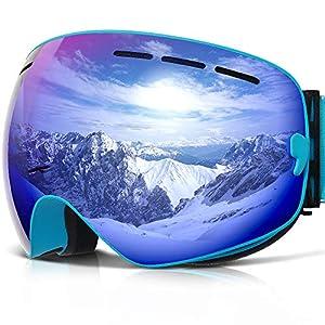 COPOZZ Skibrille G1 Ski Snowboard Brille Brillenträger Schneebrille Snowboardbrille Verspiegelt – Für Damen Herren Frauen Jungen – Mit Sehstärke OTG UV-Schutz Anti-Fog