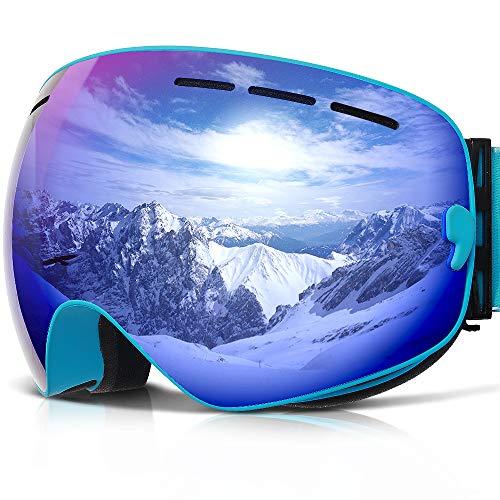 Skibrille ,COPOZZ G1 Ski Snowboard Brille Brillenträger Schneebrille Snowboardbrille Verspiegelt - Für Damen Herren Frauen Jungen - Mit Sehstärke OTG UV-Schutz Anti-Fog Alle Blau -