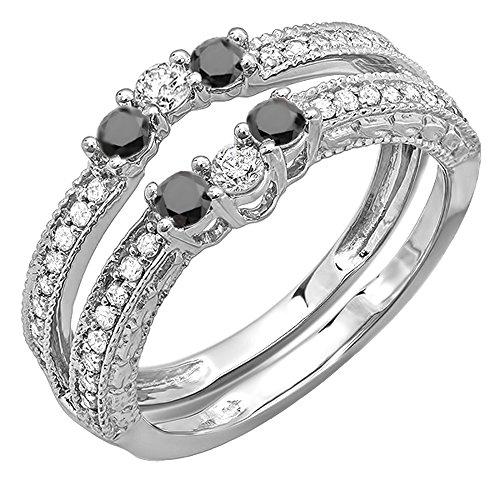 DazzlingRock Collection  -  14 Kt  Weißgold Rundschliff   Getöntes Weiß/Top Cape (K) schwarz Diamant Schwarzer Diamant  - Diamond Wrap Guard