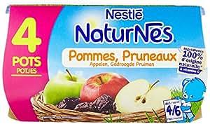 Nestlé Bébé Naturnes Pommes Pruneaux - Compote dès 4 - 6 Mois - 4 x 130g - Lot de 3
