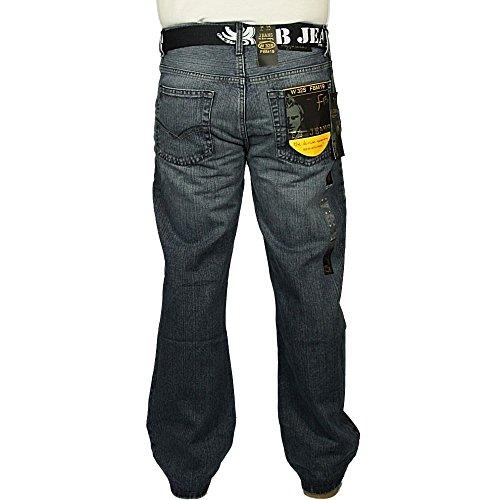 Enzo Fbm Mens 19 Concepteur Bootcut Denim Mid Black Jeans Mid Stonewash