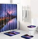 EMG Polyester Faser Badezimmer Vorhang Badezimmer Wolldecken Toiletten Sitz Kissen 16 Stück Satz Kreative Stadt Nachtszene Serie