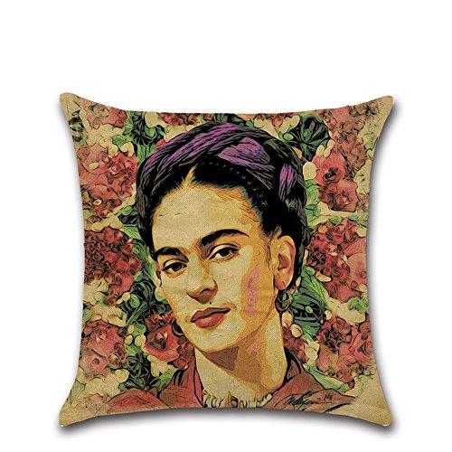 Excelsio Kissenbezug mit Selbstportrait-Malstil der mexikanischen Malerin Frida Kahlo, Deko-Kissenbezug für Schlafcouch, Wohnzimmer, Schlafzimmer, Heimdekoration, Baumwollleinen, quadratisch, 45 x 45 cm C