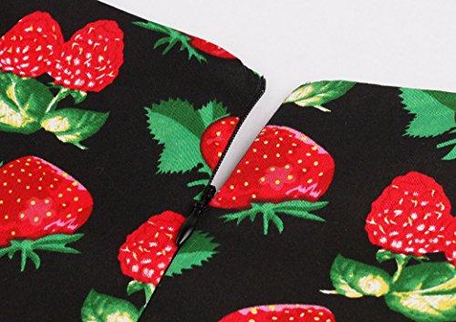 VKStar® Vintage Kleidung Damen 50er 60er Rundhalsausschnitt Hepburn Kleid Retro Damen ärmellos Abendkleid Rockabilly Erdbeere-2