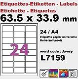 2400Etiketten 63,5x 33,9mm Mehrzweck-Etikett für Drucker, 100Bögen mit 24Etiketten (L7159) Beutel von 100;Hersteller: univers graphique®