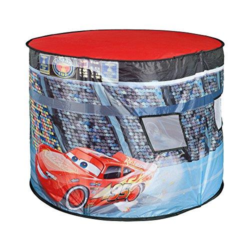 Spielzelt Oval Rennstrecke Disney Cars mit drehendem Discolicht beleuchtet Kinderzelt Indoor Grundfarbe: rot ()
