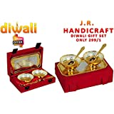 J.R. Handicraft Festival Gifts Gold & Silver Plated White Aluminium Gift Set 2 Bowl 2 Spoon With Tray | In A Beautiful Gift Box Is A Perfect Gift For This Diwali Festival & Wedding Season | Embrace Your Self | Friends | Relatives & Close One W