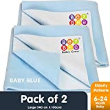 BeyBee- Dry Sheet for Double Bed Combo Pack of 2 Blue