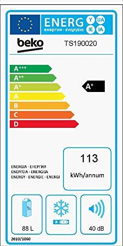 Beko TS 190020 Kühlschrank / A+ / 118 kWh/Jahr / Kühlteil: 88 L / Weiß / Unterbaufähig / Glasablagen - 2