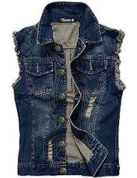 Zicac Herren Jeans-Weste, ärmellos, schmaler Schnitt, Cowboy-Stil, mit Kragen