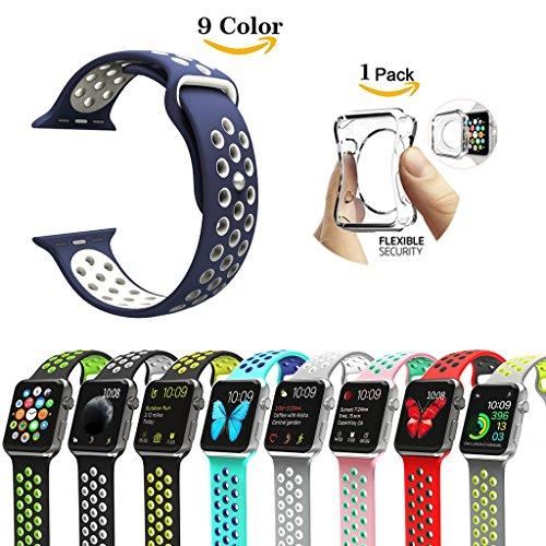 Chok Idea - Correa para Apple Watch (con carcasa transparente de TPU 1/2,38mm/42mm, estilo Nike+), 9 colores, color Blue-White