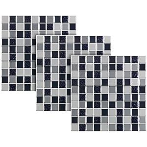 infactory Mosaik-Fliesen-Aufkleber: Selbstklebende 3D-Mosaik-Fliesenaufkleber, 25,5 x 25,5 cm, 3er-Set (Fliesendekoration)