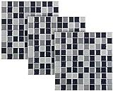 infactory Baddeko-Fliesen-Kleber: Selbstklebende 3D-Mosaik-Fliesenaufkleber, 25,5 x 25,5 cm, 3er-Set (Badezimmerdeko Kunststoff-Fliesen)