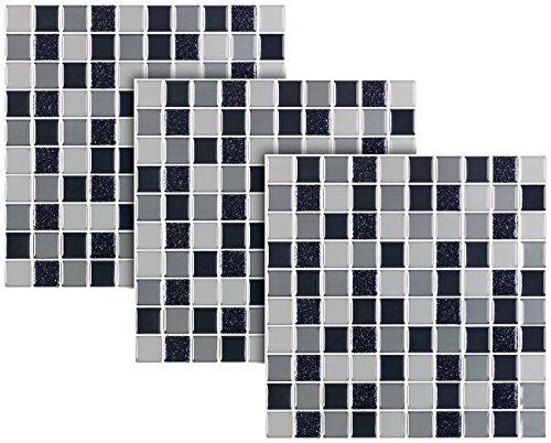 infactory Fliesen-Dekos: Selbstklebende 3D-Mosaik-Fliesenaufkleber, 25,5 x 25,5 cm, 3er-Set (Dekorfliesen Selbstklebendefolien) (Pearl Bad-mosaik)
