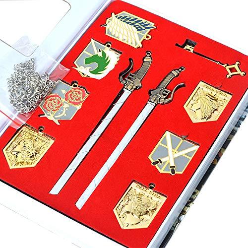Memory meteor Anime Attack on Titan Cosplay Shingeki kein Kyojin Badge Halskette Pendant Schwert-Set-Pfadfinder-Scouting-Legie-Scouting-Legie-Emblem-Legierung ()