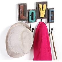 Acabado rústico Multicolor madera Love diseño decorativo perchero de pared de w/4ganchos de metal