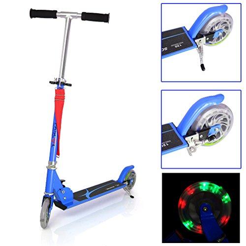 Preisvergleich Produktbild Fascol® Kinderroller Cityroller Scooter Umklappbarer Ständer PU flash Räder Scooter für Kinder alt bis 50kg Belastbar Blau