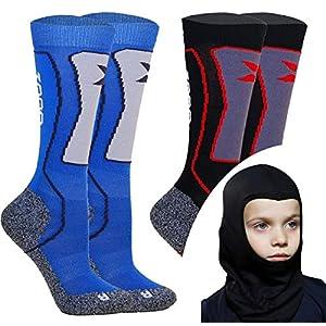 Kids Skisocken Set – 2 Paar WARM Kinder Merino SKISTRUMPF + Thermo Sturmhaube – für Mädchen Junge Italien Thermische Socken mit Merino Wolle