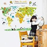 Carte du monde sticker mural Sticker Home PVC murales en vinyle Papier peint papier Décoration...