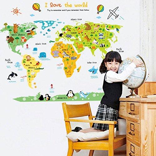 Mapa del Mundo Pared Adhesivo PVC Murales vinilo casa papel casa decoración papel pintado salón dormitorio cocina Lienzo DIY para niños Teen Nursery Baby de hockey para adulto