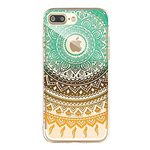 Custodia iPhone 7 Plus,iPhone 7 Plus Cover, Bonice 2pcs Caso Divertente Colorato Cristallo Bling Strass Fiore Trasparente Ultra Sottile Morbido TPU Gel Case Cover per iPhone 7 Plus (5.5 Inch), mandala model 03