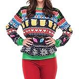 TEBAISE Christmas Sweater Damen Weihnachtspullover Weihnachten Pulli Xmas Damen Baby Weihnachtspullover Frauen Strick Weihnachten Jumper