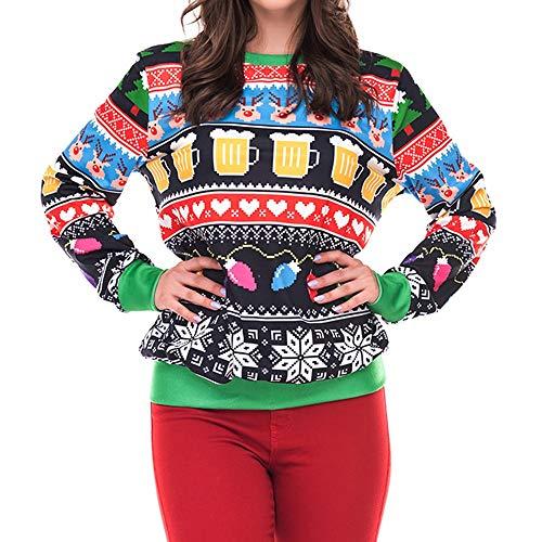LANSKIRT_Femme Pull Imprimé De Noël pour Femme Noël 3D Pull à Capuche Décontracté Sweat Ras du Cou à Imprimé Élan Top Blouse Sweatshirt S-XL