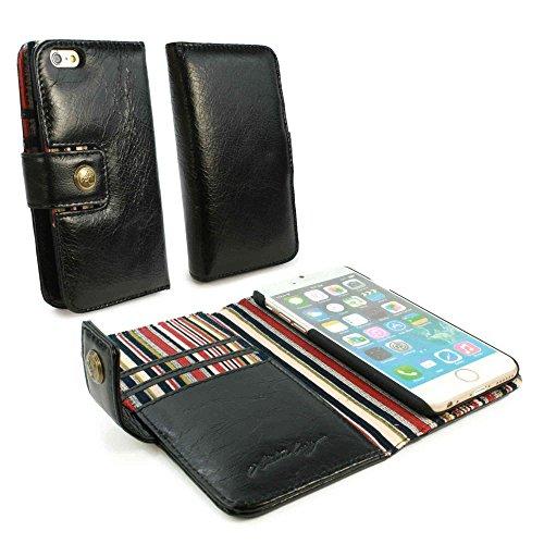 Alston Craig Custodia portafoglio di pelle genuino Vintage per Apple iPhone 6 (con protettore di schermo) - Nero