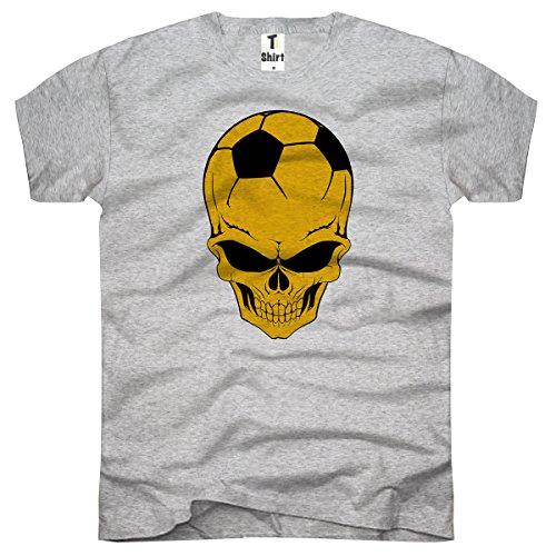 TEE-Shirt, Herren T-Shirt mit Aufdruck. Coole Motive. T-Shirt mit Totenkopf Fußball Druck. Grau