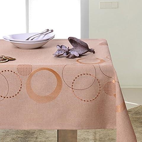 Colour de mantel de mesa circular patrón geométrico bordado de comedor muy práctico y de fácil cuidado Leinoptik lino con ribete de modern STP3767