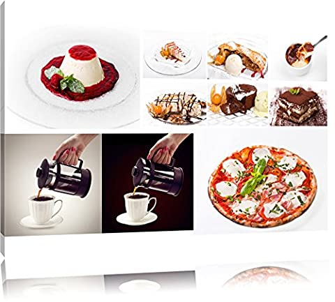 delicious coffee desserts Canvas, XXL Pictures completely framed with large wedge frames, art print on wall picture with frame, cheaper than painting or an oil painting, not a poster or banner size: 120x80 cm