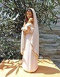 Sehr grosse ÖLBAUM - Handbemalte MADONNA, weiß / gold, Heilige Maria - große Mutter Gottes mit Kind, mit weißem Kleid / Umhang, Saum gold farben, Weiße Madonna als Symbol von Unschuld und unbefleckter Empfängnis - alle ÖLBAUM HEILIGEN- und Krippenfiguren zeichnen sich durch extrem sauber gearbeitete und präzise Gesichtszüge der Figuren aus, coloriertes Holzfiguren- bzw. Echtholzimitat, schlanke Form, standfeste Figuren