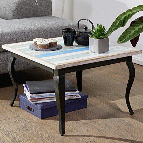 FineBuy Couchtisch PINTU Massivholz Abstelltisch Shabby Chic | Design Wohnzimmertisch Holz Massiv/Metallgestell | Vintage Loungetisch Modern | Sofatisch Bunt | Stubentisch