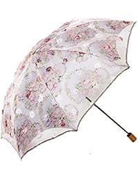 Plegable Paraguas sombrilla de encaje de Sol Anti UV UPF > 50 Compacta y Resistente con Funda de Protección , paraguas para mujer beige Rosa