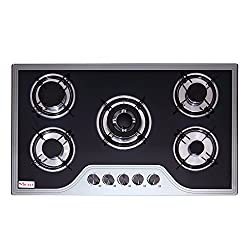 Seavy 5 Burner Kitchen Cooktop Hob 90cm with Toughened Glass, Auto Ignition Technology & Triple Ring Burner (King 90)