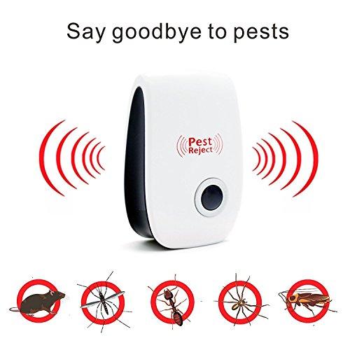 4PCS Ultraschallpest Repeller & Maus Repeller Plug in Schädlingsbekämpfung, TechCode Pest Repellent & Mückenschutz für Mäuse, Ratte, Bug, Wanze, Spinne, Plötze, Ameise, Fly, Flea, Motte - Keine mehr Falle, Öl & Fogger.(4 Stück)